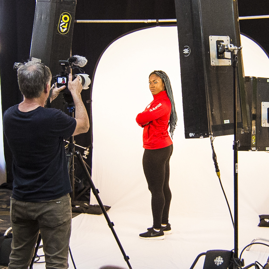 Female olympian is posing for a headshot photo