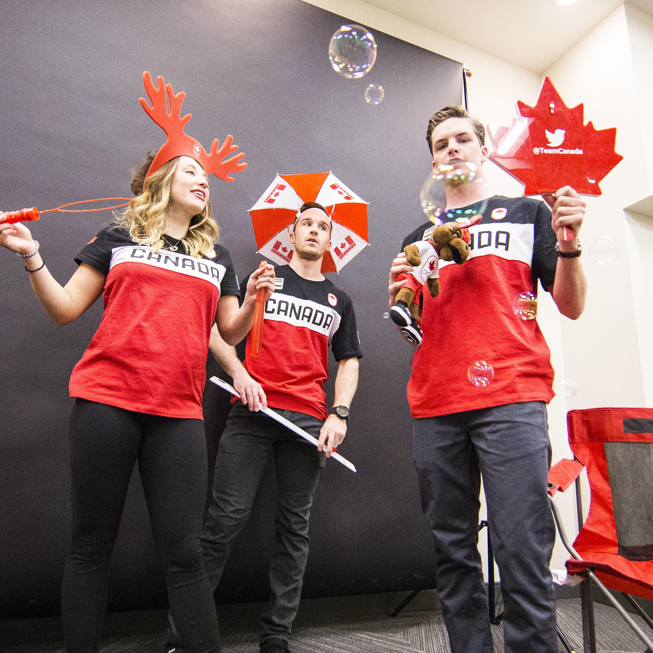 Three Olympians on a photoshoot